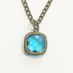 Antique Bronze Lake Blue Square Jewel Charm Pendant Necklace Chain Necklace Pendant Necklace Simple Hobo Bohemian Necklace