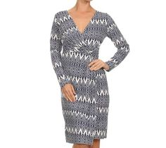 Avital Faux Wrap Printed Dress Navy Blue White Vneck Long Sleeves Knee Length…