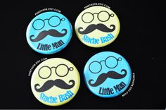 Gender Reveal Buttons Little Man Baby Shower by PINKTASTIK on Etsy
