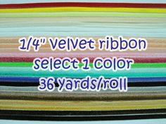 """1 roll (36 yards) 1/4"""" Velvet Ribbon, Wholesale Velvet Ribbon, Ribbon, Ribbon lot, Wholesale Ribbon, Velvet Ribbon, 3/8 Velvet ribbon by ichimylove on Etsy https://www.etsy.com/listing/217247382/1-roll-36-yards-14-velvet-ribbon"""