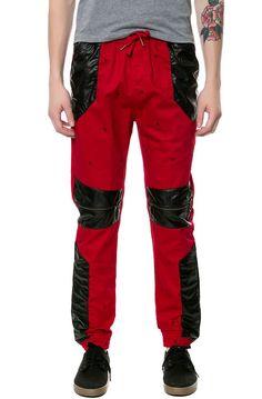 Square Zero Square Zero Navajo Dot Printed Cotton Twill Drop Crotch Jogger Pants with Faux Leather Trim - Karmaloop.com