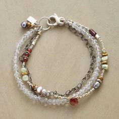 """MIXOLOGY BRACELET--Good things come together in a three-strand sterling silver bracelet shimmering with jade, garnets, lavender quartz and pearls. Sterling lobster clasp. USA. Exclusive. Approx. 7-1/2""""L."""