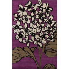Chandra Rugs INT Purple Contemporary Rectangular Rug - INT-30004