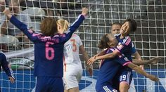 Japan's Saori Ariyoshi (19) celebrates her goal against the Netherlands with teammates Yuki Ogimi and Mizuho Sakaguchi (6) during the first half of a round of 16 soccer match at the FIFA Women's World Cup, June 23, 2015, in Vancouver, British Columbia. (Jonathan Hayward/The Canadian Press via AP) ▼24Jun2015AP|Japan beats the Netherlands to reach World Cup quarterfinal http://bigstory.ap.org/article/e21e3c0254e14125aa2c49aef8fab80c #2015_FIFA_Womens_World_Cup #Round_of_16_Japan_vs_Netherlands