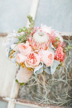 Peony and protea bouquet #pink #wedding #bouquet