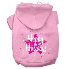Scribble Happy Holidays Screenprint Pet Hoodies Light Pink Size M (12)
