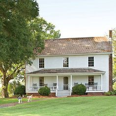 Architectural Scale - Before and After: Farmhouse Remodel - Southern Living - like this different farmhouse style, with a big porch Farmhouse Remodel, Farmhouse Plans, Farmhouse Design, Country Farmhouse, Modern Farmhouse, Farmhouse Front, Farmhouse Decor, Farmhouse Addition, Porch Addition