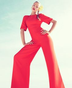 bright cherry jumpsuit, wide leg