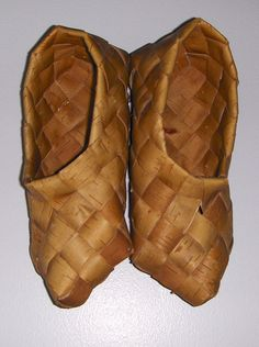 Traditional Finnish shoes made from birch bark