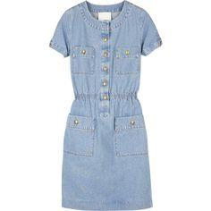 3.1 Phillip Lim Denim t-shirt dress ($380) ❤ liked on Polyvore featuring dresses, denim, blue, vestidos, 3.1 phillip lim dress, 3.1 phillip lim, round neck dress, blue t shirt dress and short sleeve t shirt dress