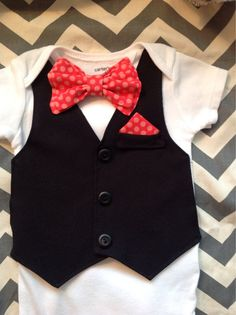 Great baby outfit for attending winter weddings! And you can get it in any color you want. Comfortable Baby Boy Vest/Bow tie Outfit PLUS by UltraVioletGirl, $37.00