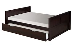Camaflexi Full Size Platform Bed with Twin Trundle - Panel Headboard - Cappuccino Finish - The Camaflexi Full Size Bed represents the core building block of our unique bedding system that is Full Size Platform Bed, Solid Wood Platform Bed, Platform Bed With Storage, Platform Beds, Bunk Beds For Sale, Kids Bunk Beds, Panel Headboard, Panel Bed, Full Size Mattress