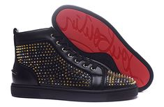 Christian Louboutin Louis Mix Spikes Orlato Mens Flat Leather High Top Sneakers Black