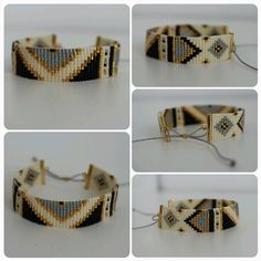 Beads miyuki woven Inca motif bracelet by Lapetitemarseillaise
