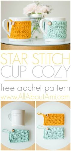 Whip up these beautiful and quick Star Stitch Cup Cozies as last-minute gifts!  Free pattern and picture tutorial available!