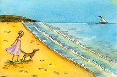 Original 4x6 Painting  Beach Day by PainterNik on Etsy, $75.00