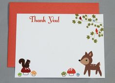 Woodland Animals Baby Shower Thank You A2 Flat Note by RatDogInk, $17.00