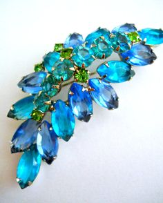 JULIANA D&E Blue Teal Leaf Rhinestone Brooch by RenaissanceFair