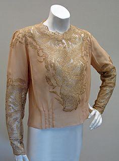 1930s chiffon and lace blouse