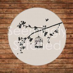 Cross Stitch Pattern - Birds on Branch Cross Stitch Bird, Cross Stitch Animals, Counted Cross Stitch Patterns, Cross Stitch Charts, Cross Stitch Designs, Cross Stitching, Cross Stitch Embroidery, Ribbon Embroidery, Embroidery Patterns