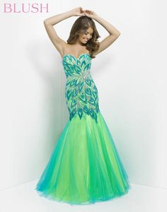 Blush Prom - 9722 Rock the dance floor! Sparkling stones and clear jewels in an abstract floral and leaf design drape down your sillhouette into a two-tone dance skirt coming in turquoise/lime, hot pink/yellow, lilac/hot pink and tangerine/lime at Estelle's Dressy Dresses! #estellesdressydresses