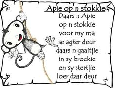 Afrikaans - apie op n stokkie Kids Poems, Quotes For Kids, Children Songs, Preschool Songs, Kids Learning Activities, Animals Name In English, Afrikaans Language, Classroom Expectations, Rhymes Songs