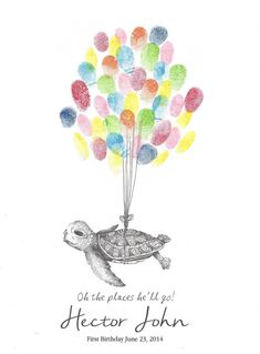 Sea Turtle being lifted by Balloons Fingerprint by PTWatersDesigns, $18.00