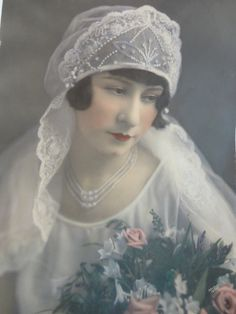 Vintage tinted photo of 1920's bride I purchased from the original estate. :)