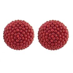 Red Coral Ball Earrings