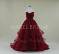 Burgundy Prom Dress,Long Prom Dress,Tulle Prom Dress,Pleated Prom Dress,Red Prom Dress,Evening Dress on Etsy, $252.17 AUD