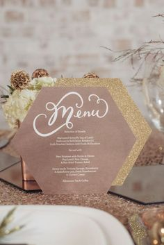 Geometric #Wedding Inspiration - centerpieces, stationery, wedding cakes, decor - the geometric trend is huge in weddings right now! Geometric wedding menu. #geometricwedding See more inspiration by visiting http://www.theweddingguru.ca/geometric-wedding-inspiration/