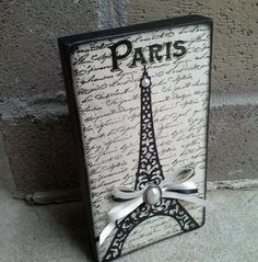 Paris Eiffel Tower Shabby Decor Ribbon Cream Black Block Sign French in Home & Garden | eBay
