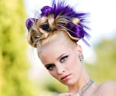 Intricate half shaved updo with purple highlights