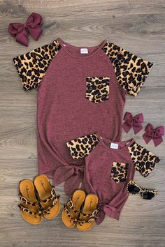 Mom & Me - Cheetah Tie Top - Heather Wine - Sparkle In Pink Best Picture For baby girl clothes handm Mommy And Me Outfits, Kids Outfits, Cute Outfits, Baby Outfits, Baby Girl Fashion, Kids Fashion, Womens Fashion, Little Fashionista, Cute Baby Clothes