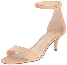 Amazon.com | Nine West Women's Leisa Leather Heeled Dress Sandal, Black Leather, 5 M US | Flip-Flops