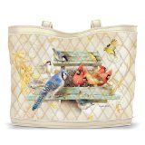 """""""Morning Serenade"""" Quilted Tote Bag With 2 Free Matching Cosmetic Cases by The Bradford Exchange"""