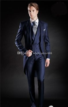 0ee653bad7a Slim Fit Morning Style Groom Tuxedos Peak Lapel Men s Suit Navy Blue  Groomsman Best Man Wedding Prom Suits(Jacket+Pants+Tie+Vest) J994