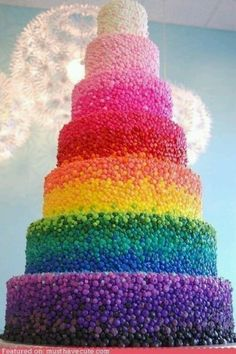 Rainbow Tower Cake! Are those candies, or frosting?