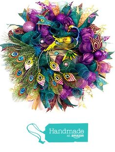 Whimsical Peacock Wreath - Holiday Wreath - READY TO SHIP from Fancy Wreath Lady http://www.amazon.com/dp/B0192D3FSO/ref=hnd_sw_r_pi_dp_JVYzwb090T205 #handmadeatamazon