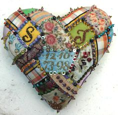 On the subject of hearts…..searching my archives for more heart pictures for the Gallery section I remembered the stuffed and beaded hearts I used to make. Above is the first beaded heart I b…