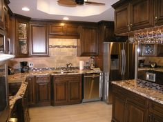 dark brown and white scroll rug | Decoration With Dark Brown Wood Kitchen Cabinet Along With Light Brown ...