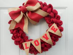 Valentine's Day Burlap wreath, Valentine wreath, Red burlap Valentine wreath, Love wreath, Valentine decor, Love decor, Love banner RTS by ChloesCraftCloset on Etsy https://www.etsy.com/listing/263305906/valentines-day-burlap-wreath-valentine