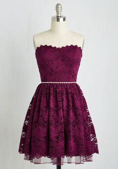 Go Awe In Dress - Red, Solid, Wedding, Party, Bridesmaid, Homecoming, Fit & Flare, Strapless, Woven, Lace, Better