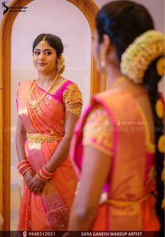 South Indian Wedding Saree, Wedding Sari, Indian Wedding Outfits, South Indian Bride, Fancy Blouse Designs, Bridal Blouse Designs, Engagement Saree, Engagement Hairstyles, Wedding Saree Collection