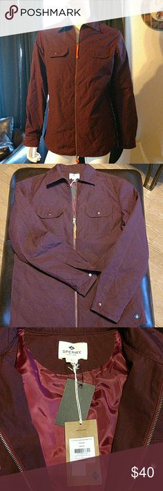 NWT Sperry Topsider Maroon Quilted Jacket Gorgeous color that doesn't show in pictures. This zip front outerwear jacket features two front pockets with snap buttons. Two pockets on side and satiny inner lining. Traditional rubber Sperry icon on bottom left. Never worn and from a smoke free, pet free home. Sperry Top-Sider Jackets & Coats