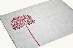 Rojo árbol lino Placemat Set de 4 Natural del lino por KainKain