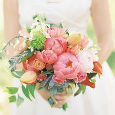 Pink, peony bouquet | Emily Steffen Photography | TheKnot.com