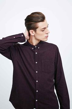 Chemise Oxford bordeaux chiné -  Urban Outfitters
