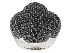 7.07ctw Round Black Spinel Sterling Silver Ring