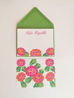 Personalized #floral stationery with bright pink and orange peonies I Shop now at www.BoutiqueBachelorette.com